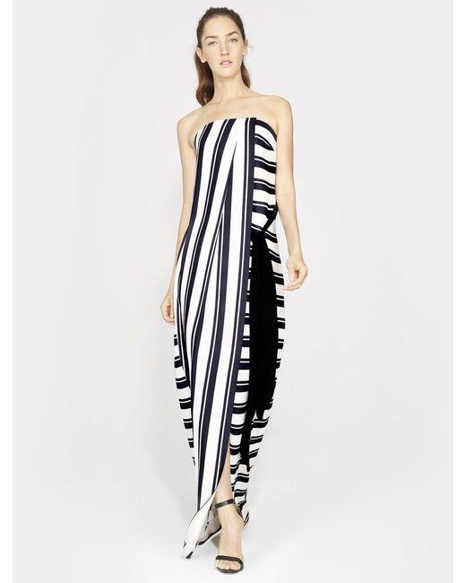 Halston Heritage - Black Striped Strapless Maxi Dress - Lyst