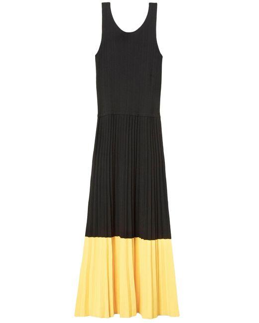 10 Crosby Derek Lam - Sleeveless Pleated Dress In Black/citrus - Lyst