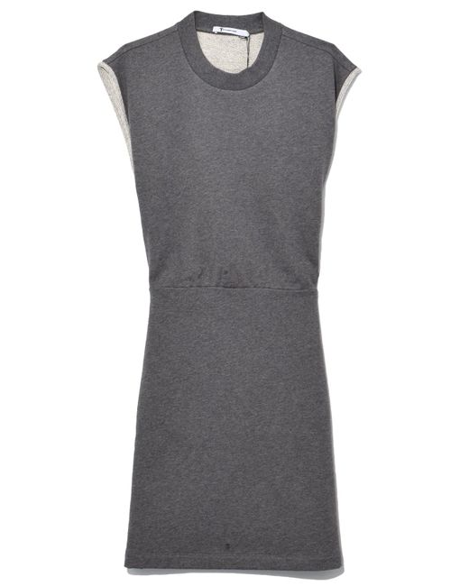T By Alexander Wang - Gray Dry French Terry Cinch Waist Dress In Charcoal - Lyst