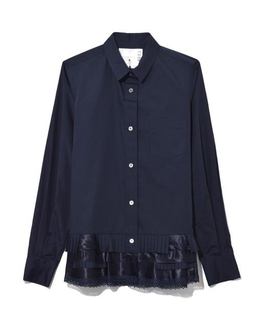 Sacai - Blue Cotton Poplin Shirt In Navy - Lyst