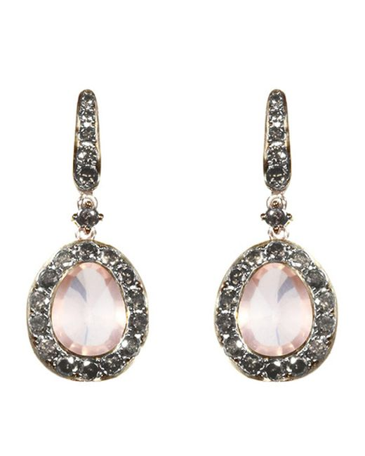 Annoushka - Metallic Dusty Diamonds Rose Quartz Earrings - Lyst