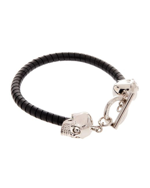 Alexander McQueen | Black Double Skill T-bar Leather Bracelet for Men | Lyst