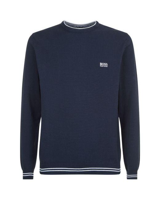 BOSS Green - Blue Logo Sweater for Men - Lyst