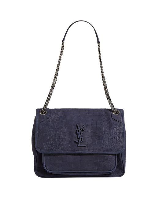 15f9e45da111 Saint Laurent Large Croc Leather Niki Shoulder Bag in Blue - Lyst