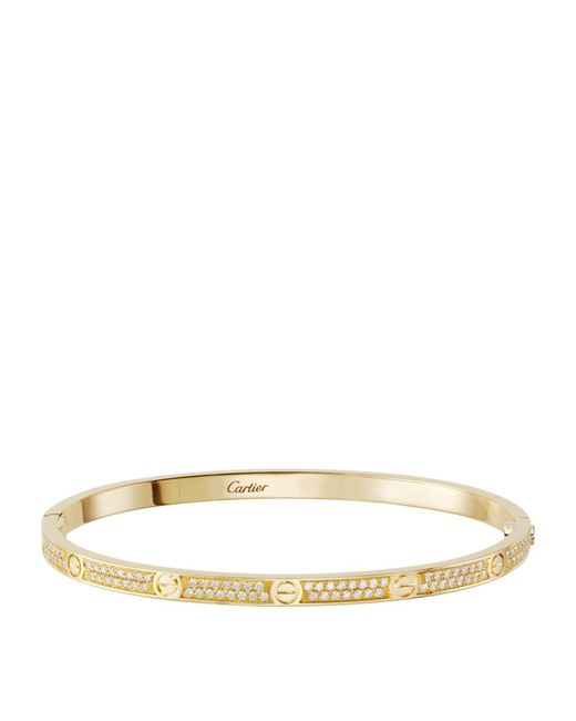 Cartier - Metallic Small Yellow Gold And Diamond-paved Love Bracelet - Lyst