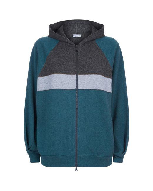 Brunello Cucinelli - Blue Striped Cashmere Hoody - Lyst
