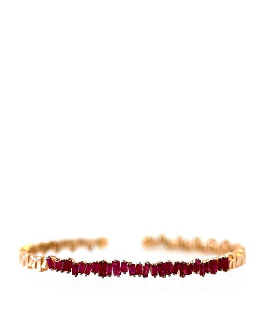 Suzanne Kalan | Red Rose Gold Ruby Flexi Bangle | Lyst