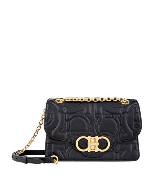 a83897638661 Ferragamo Quilted Leather Shoulder Bag in Black - Lyst