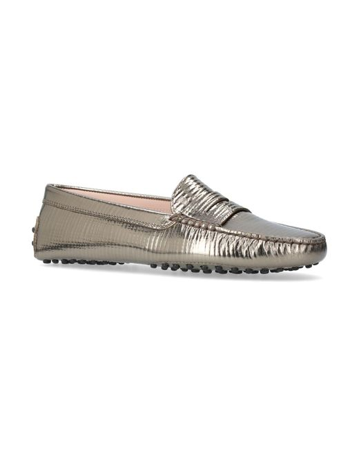 Tod's | Brown Mocassino Metallic Leather Driving Shoes | Lyst