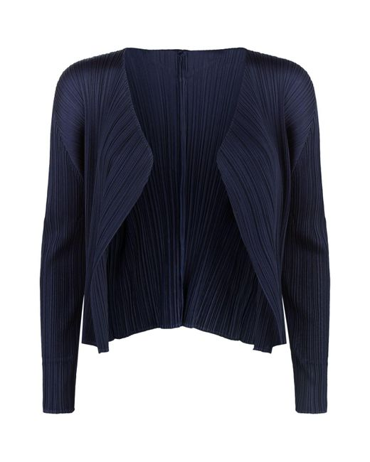 Pleats Please Issey Miyake - Blue Cropped Pleated Cardigan - Lyst
