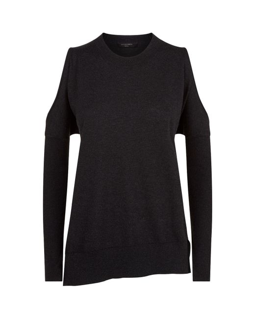 AllSaints | Black Reya Cold Shoulder Sweater | Lyst