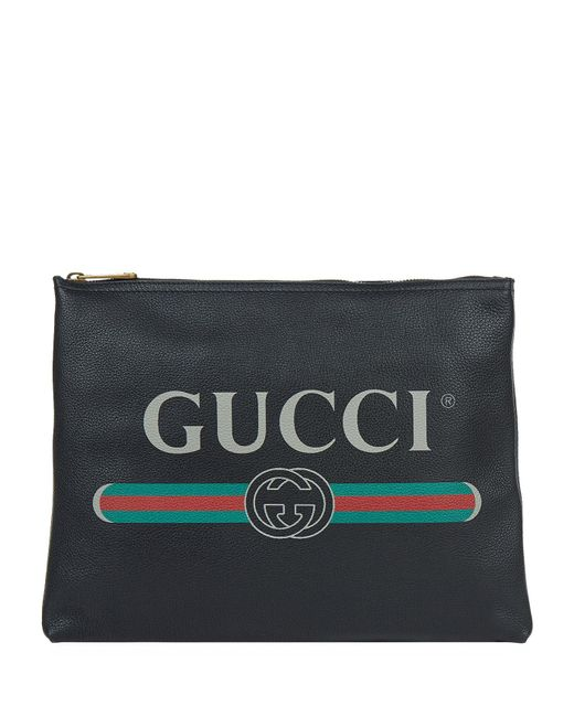 Gucci - Black Logo Print Small Leather Pouch for Men - Lyst