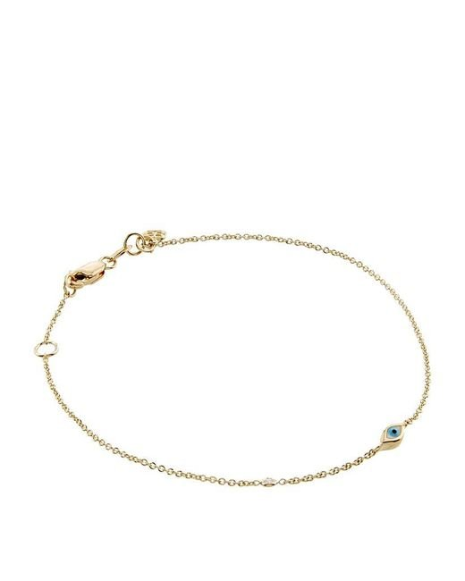 Sydney Evan | Metallic Mini Enamel Evil Eye Bracelet With Bezel-set Diamond | Lyst