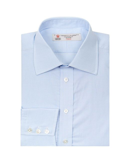 Turnbull & Asser - Blue Small Check Button Cuff Shirt for Men - Lyst
