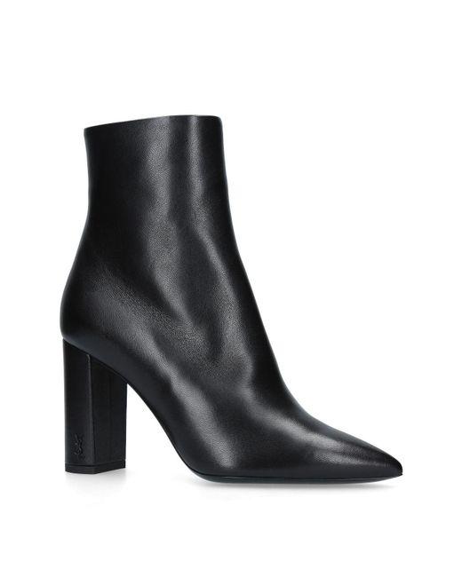 Saint Laurent - Black Leather Betty Ankle Boots 95 - Lyst