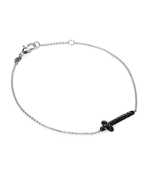 Theo Fennell | Metallic 18ct White-gold And Black Pavé Diamond Mini Cross Bracelet | Lyst