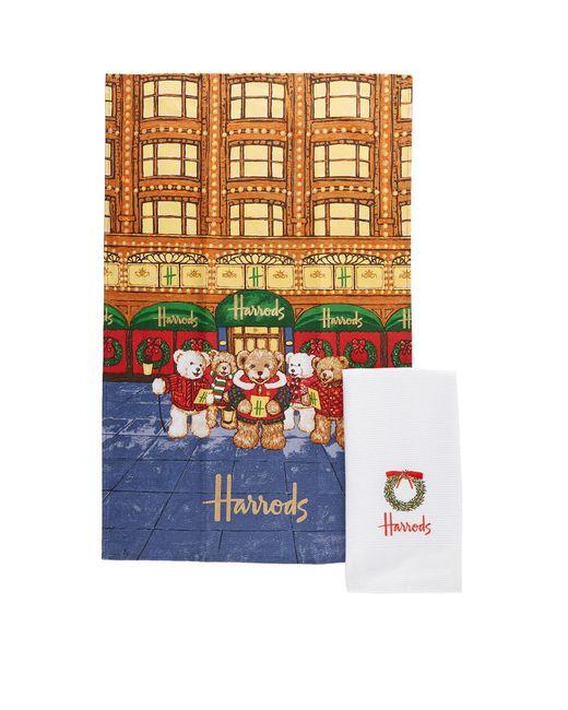 Harrods | Multicolor Christmas Bear Tea Towel (set Of 2) | Lyst