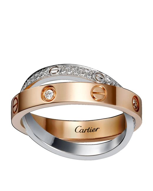 Cartier - Metallic White And Pink Gold Diamond-paved Love Ring - Lyst