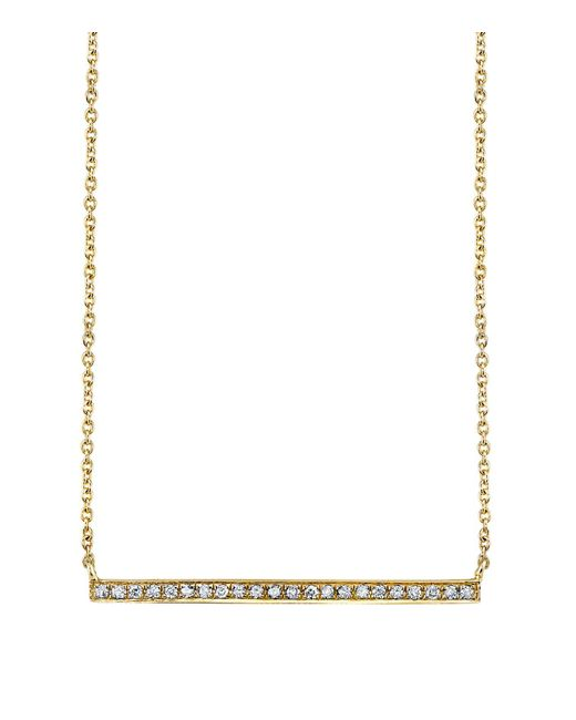 Sydney Evan | White Yellow Gold And Diamond Long Bar Necklace | Lyst