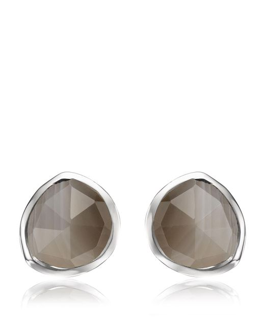 Monica Vinader - Metallic Siren Grey Agate Stud Earrings - Lyst