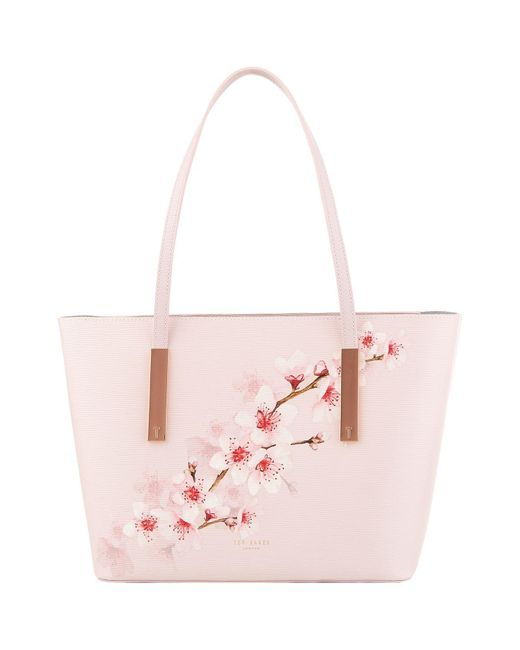Ted Baker - Pink Mini Leather Floral Goldiie Shopper - Lyst