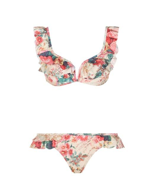 Zimmermann - Multicolor Laelia Floral Ruffle Bikini - Lyst