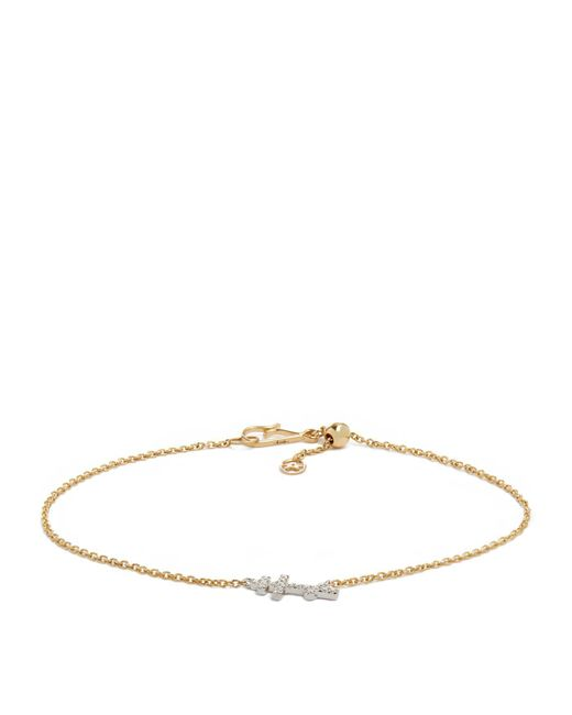 Annoushka - Metallic White Gold And Yellow Gold Love Diamonds Cross Bracelet - Lyst