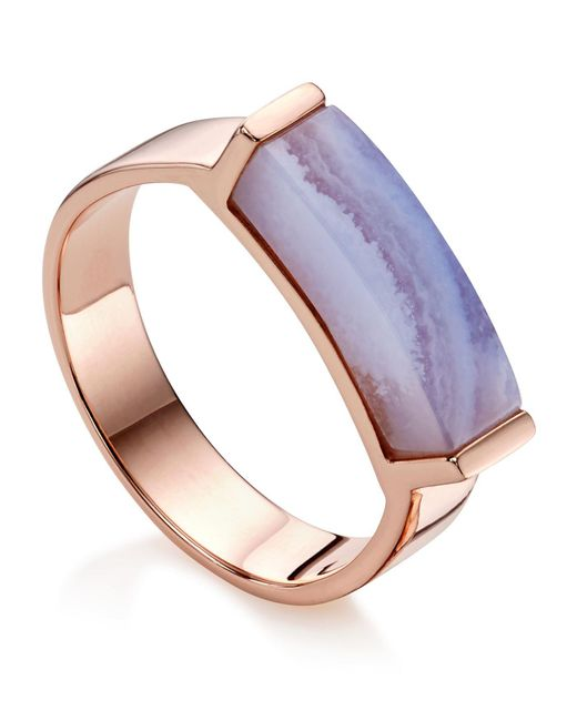 Monica Vinader - Metallic Linear Lace Agate Stone Ring - Lyst