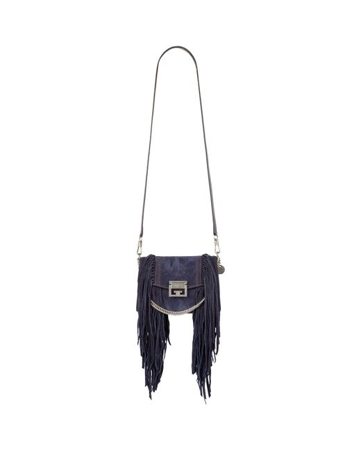 Givenchy - Blue Small Suede Fringed Gv3 Cross Body Bag - Lyst