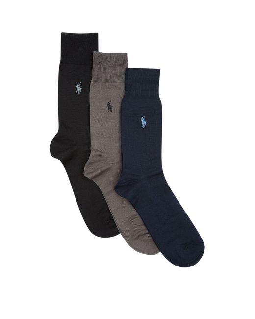 Polo Ralph Lauren | Blue Fil D'ecosse Socks (pack Of 3) for Men | Lyst