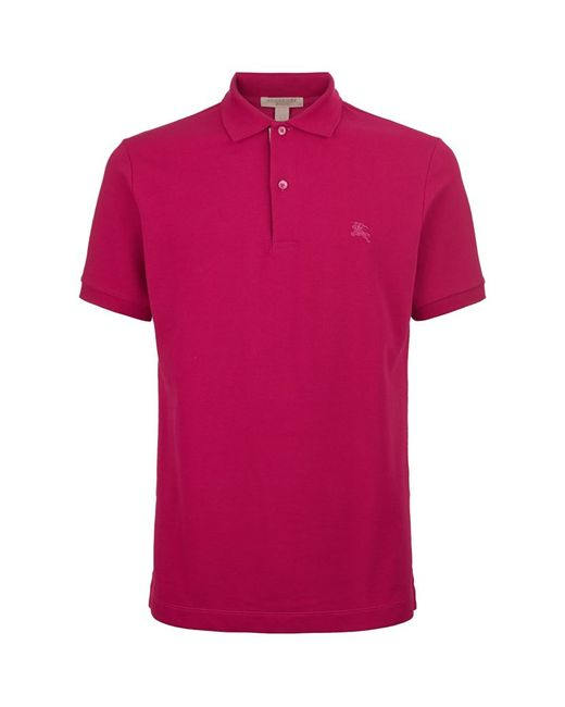 burberry brit check placket polo shirt in red for men lyst