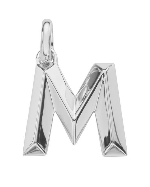Monica Vinader | Metallic Sterling Silver Capital M Pendant | Lyst
