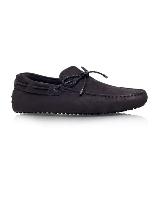 Tod's - Black Laced Gommino Nubuck Driving Shoes for Men - Lyst