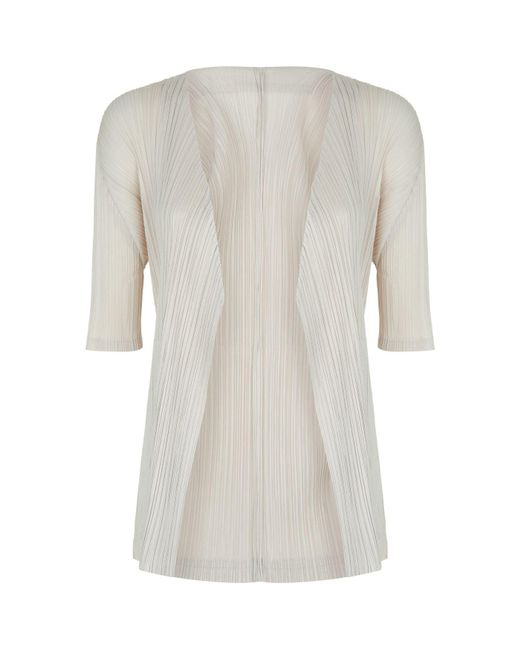 Pleats Please Issey Miyake - Natural Pleated Cardigan - Lyst