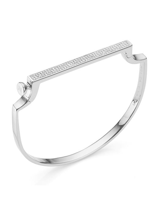 Monica Vinader | Metallic Silver Signature Thin Diamond Bangle | Lyst