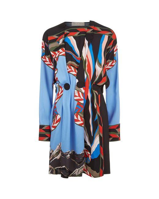 Emilio Pucci | Blue Mountain Print Crepe Dress | Lyst