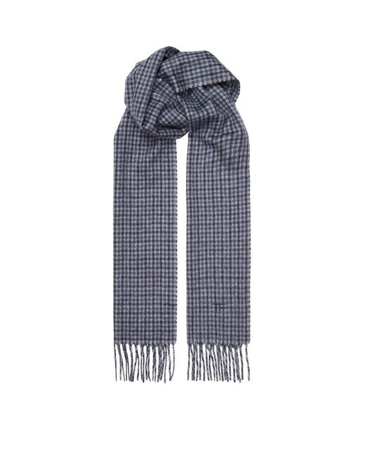 tom ford check scarf in blue for lyst