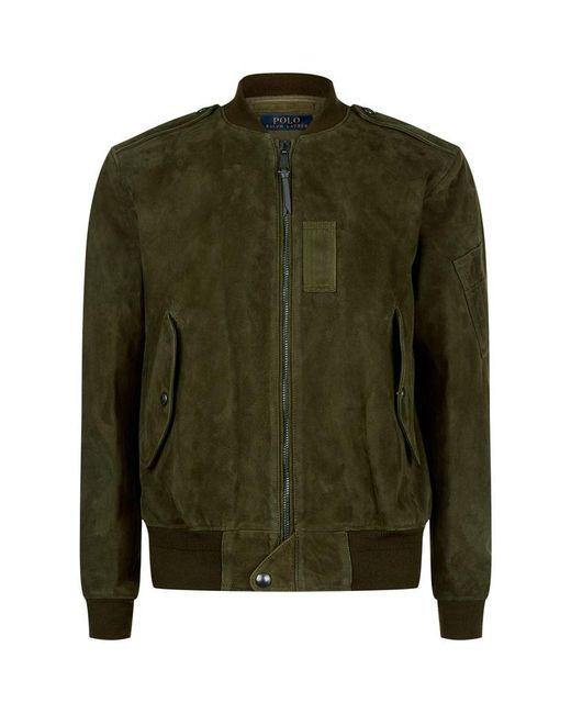 polo ralph lauren suede bomber jacket in green for men lyst. Black Bedroom Furniture Sets. Home Design Ideas