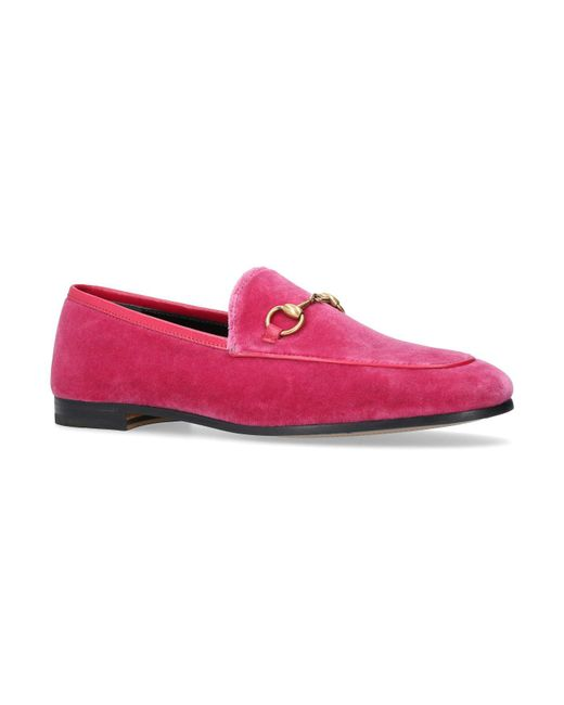 Lyst - Gucci Velvet Jordaan Loafers in Pink - Save 6%