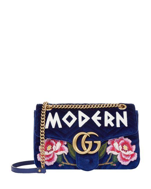 Gucci - Blue Medium Marmont Matelass Shoulder Bag - Lyst