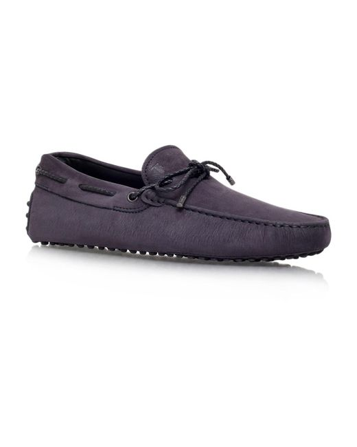 Tod's - Blue Laced Gommino Nubuck Driving Shoes for Men - Lyst
