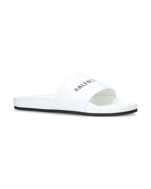 Balenciaga - White Logo Pool Slides - Lyst