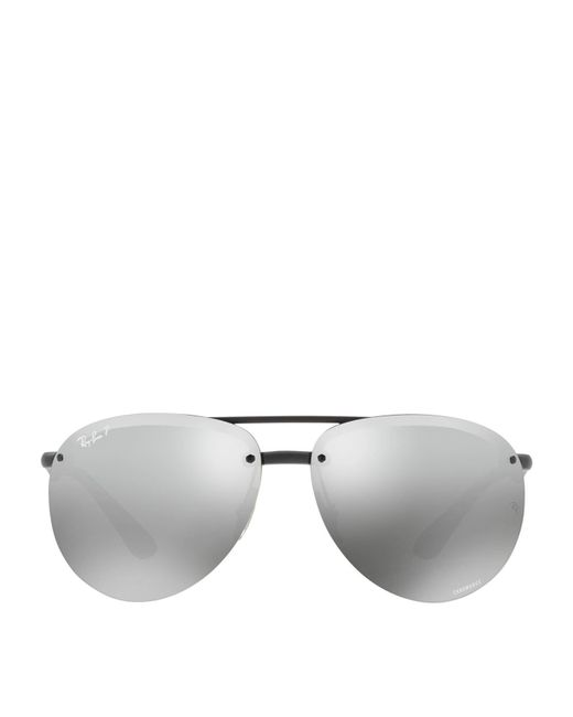 Ray-Ban - Black Polarised Mirror Aviator Sunglasses - Lyst