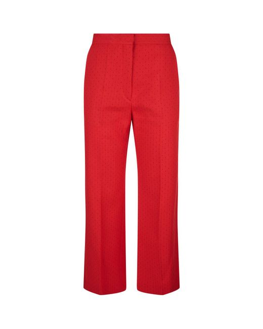 Sandro - Red Wide Leg Printed Trousers - Lyst