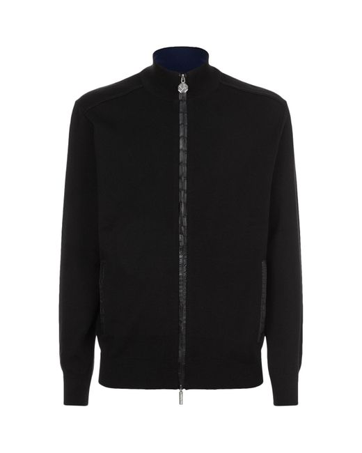 Stefano Ricci | Black Zip-up Crocodile Trim Jacket for Men | Lyst