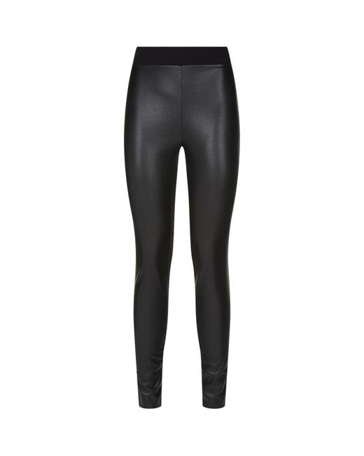 Wolford | Black Lindsey Leatherette And Stretch-jersey Leggings | Lyst