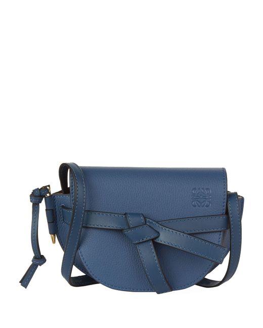 Loewe - Blue Mini Leather Gate Bag - Lyst