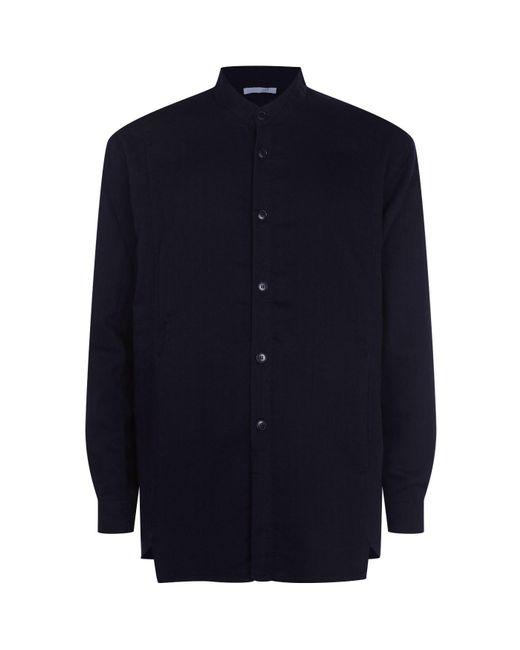 Lot78 - Blue Cotton Flannel Collarless Shirt for Men - Lyst