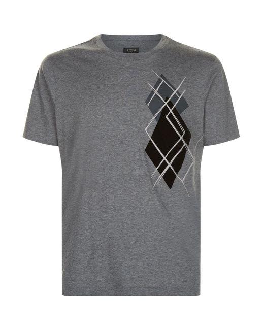 Z Zegna | Gray Velvet Applique T-shirt for Men | Lyst