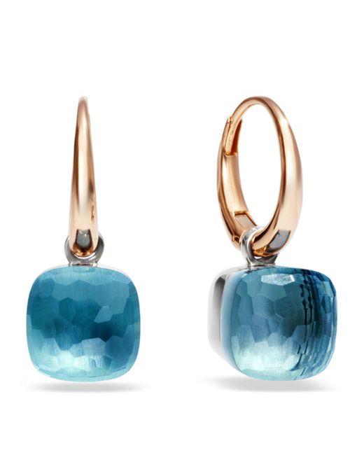 Pomellato | Pink Nudo Blue Topaz Rose Gold Earrings | Lyst